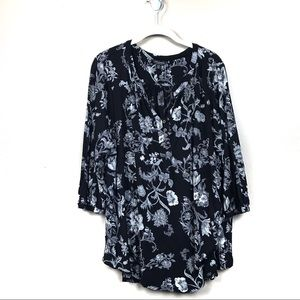 Lucky brand black floral top plus size 2x